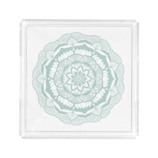 Bohemian Chic Henna Mehendi Mandala Pattern Acrylic Tray