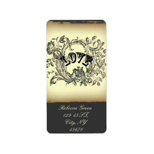 bohemian chic old fashion flourish swirls ornate address label