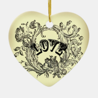 bohemian chic old fashion flourish swirls ornate ceramic heart decoration