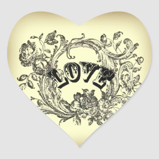 bohemian chic old fashion flourish swirls ornate heart sticker