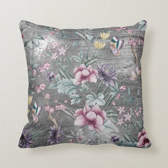 Bohemian Chinoiserie Teal Butterfly Gray Grungy Cushion