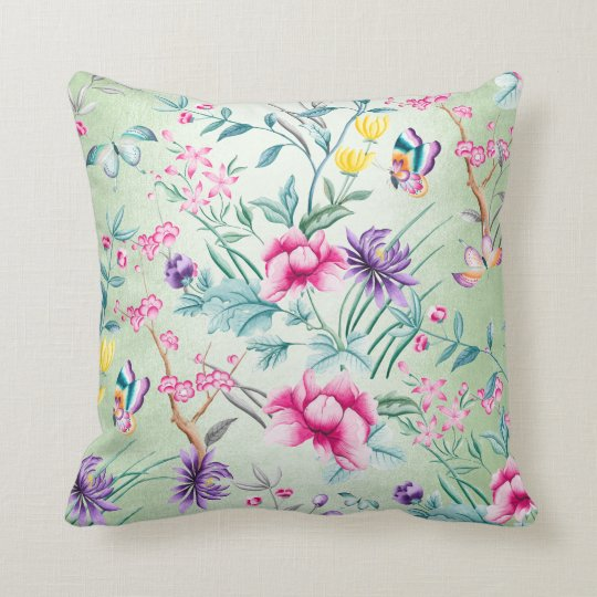 Bohemian Chinoiserie Tropical Mint Green Flowers Cushion