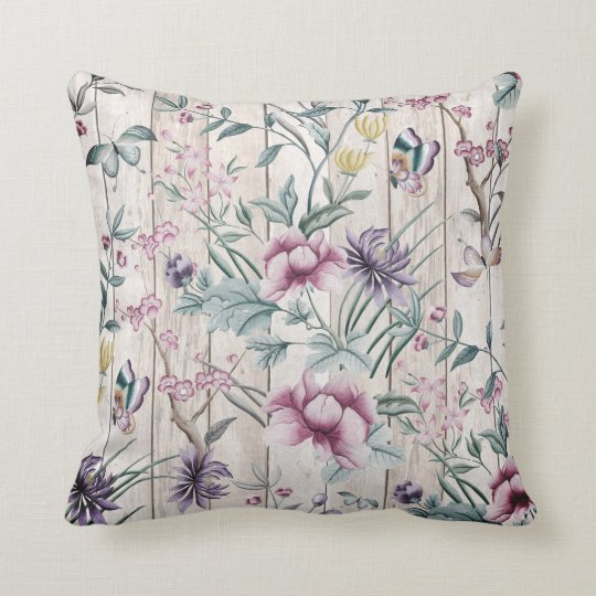 Bohemian Chinoiserie Tropical Teal Butterfly Wood Throw Pillow