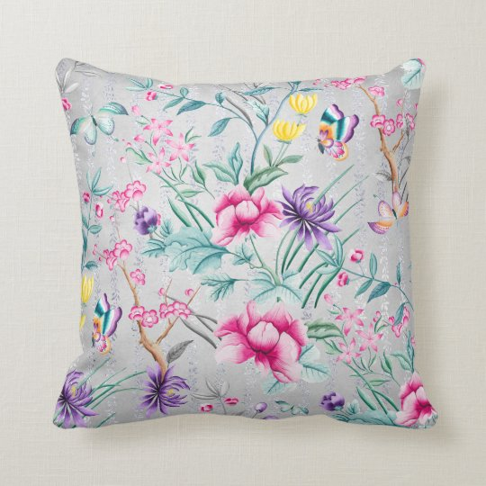 Bohemian Chinoiserie Tropical Tiffany Butterfly Throw Pillow