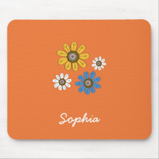Bohemian Colorful Flowers Custom Name Mouse Mat