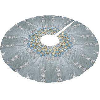 Bohemian crystal rhinestone Silver blue mandala Brushed Polyester Tree Skirt