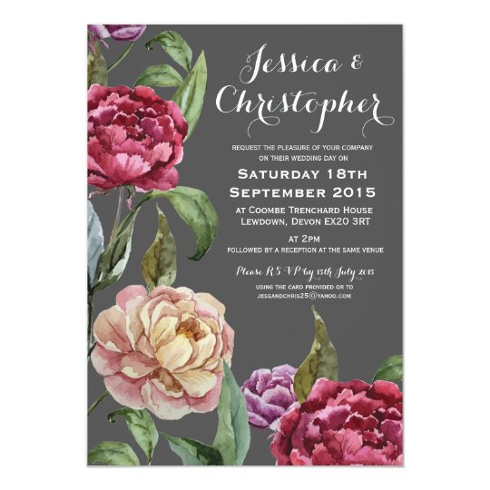 Bohemian Dark Floral Custom Wedding Invitations