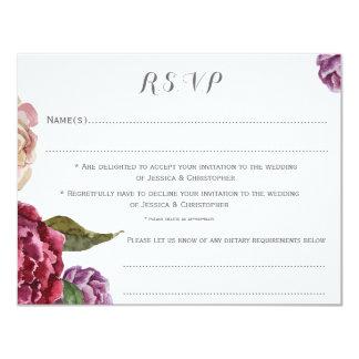 Bohemian Dark Floral Customised Wedding RSVP Card 11 Cm X 14 Cm Invitation Card