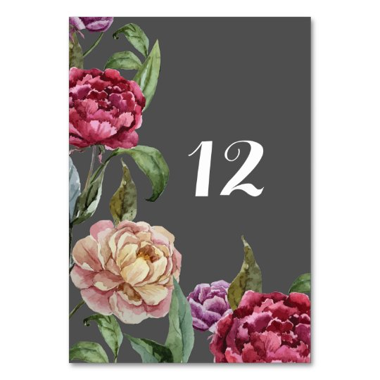 Bohemian Dark Floral Wedding Table Name or Number