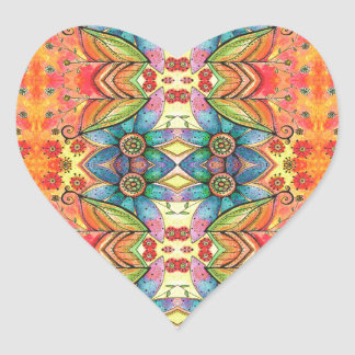 Bohemian Design Colorful Pattern Heart Sticker