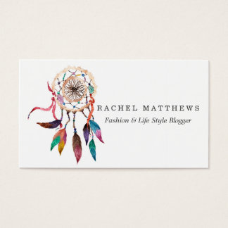 Bohemian Dreamcatcher in Vibrant Watercolor Paint Business Card