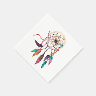 Bohemian Dreamcatcher in Vibrant Watercolor Paint Disposable Napkin