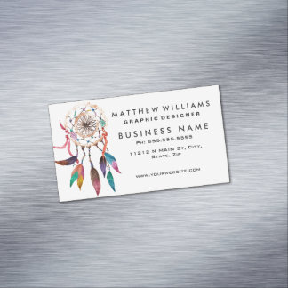 Bohemian Dreamcatcher in Vibrant Watercolor Paint Magnetic Business Card
