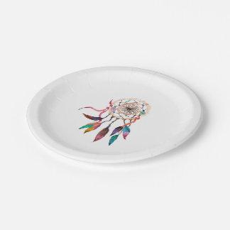 Bohemian Dreamcatcher in Vibrant Watercolor Paint Paper Plate