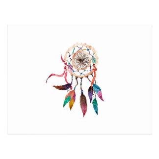 Bohemian Dreamcatcher in Vibrant Watercolor Paint Postcard