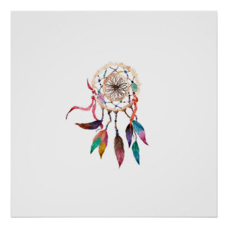 Bohemian Dreamcatcher in Vibrant Watercolor Paint Poster