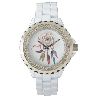 Bohemian Dreamcatcher in Vibrant Watercolor Paint Watch