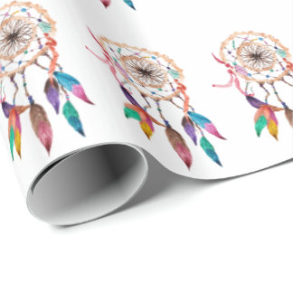 Bohemian Dreamcatcher in Vibrant Watercolor Paint Wrapping Paper