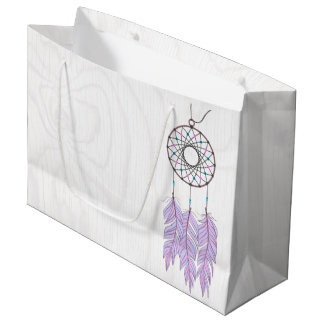 Bohemian Dreamcatcher Rustic Wood Large Gift Bag