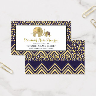 Bohemian Elephant and Chevron Baby Gift Registry Business Card