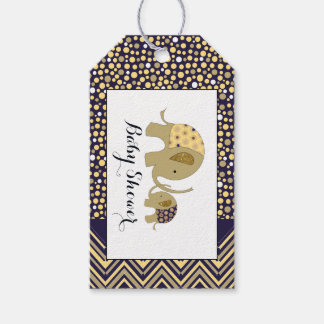 Bohemian Elephant and Chevron Baby Shower Gift Tags