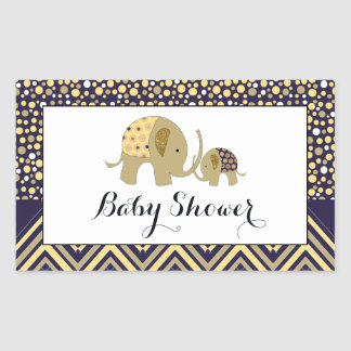 Bohemian Elephant and Chevron Baby Shower Rectangular Sticker
