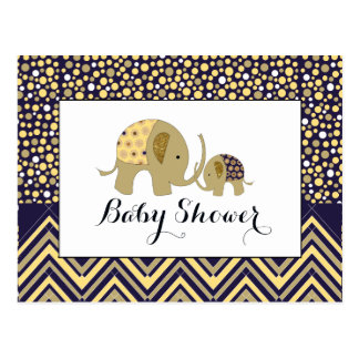 Bohemian Elephant & Chevron Baby Shower Invitation Postcard