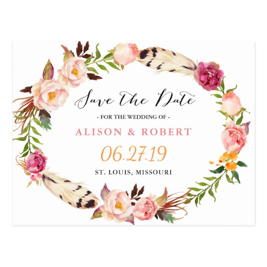 Bohemian Feather Boho Floral Wreath Save the Date