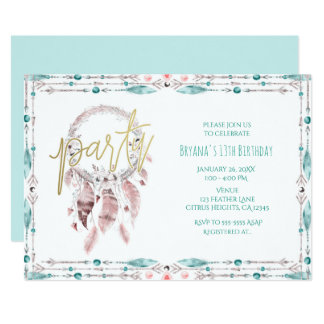 Bohemian Feather Dream Catcher Teal Birthday Party Card