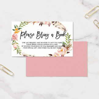 Bohemian Feathers and Flowers Please Bring a Book Business Card