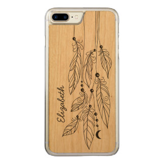 Bohemian Feathers Drawing Name Carved iPhone 7 Plus Case