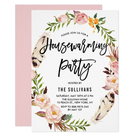 Bohemian Feathers Floral Wreath Housewarming Party Card