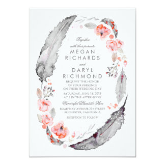 Bohemian Feathers Pink and Gray Wedding Card