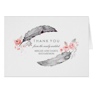 Bohemian Feathers Pink and Gray Wedding Thank You Note Card