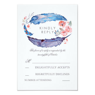 Bohemian Feathers Romantic Wedding RSVP Cards