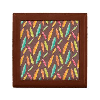 Bohemian feathers Square Tile Gift Box, Golden Oak Small Square Gift Box