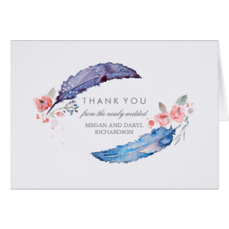 Bohemian Feathers Tribal Style Wedding Thank You Note Card