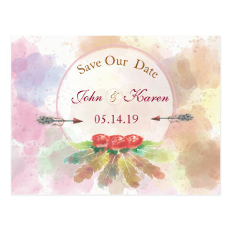 Bohemian feathers watercolor Roses SAVE THE DATE Postcard