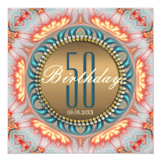Bohemian Fire Mandala 50th Birthday Invitation