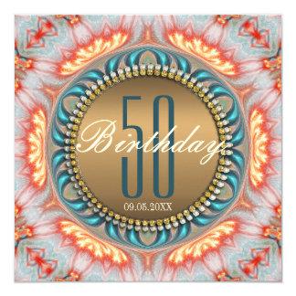 Bohemian Fire Mandala 50th Birthday Invitation