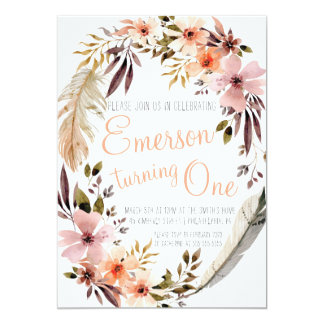 Bohemian First Birthday Party Invitation