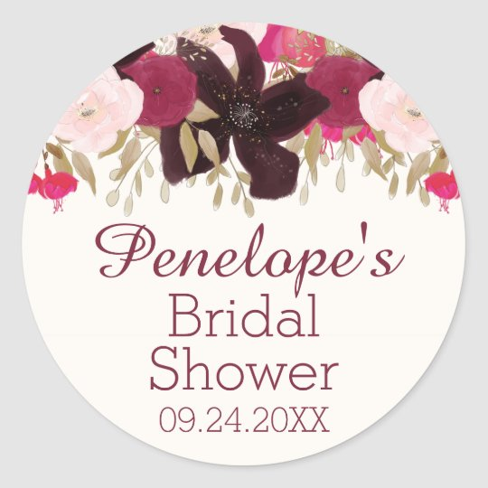 Bohemian Floral Bridal Shower Favour Label Sticker