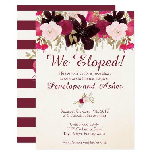 Bohemian Floral Elopement Reception Invitation