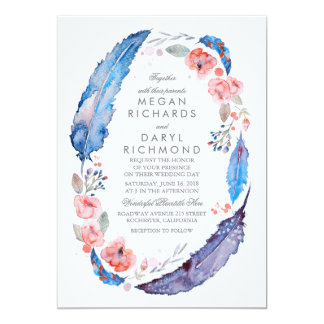 Bohemian Floral Feathers Rustic Wedding Card