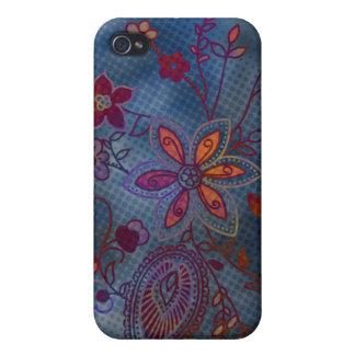 Bohemian Floral iPhone 4 Case (blue)