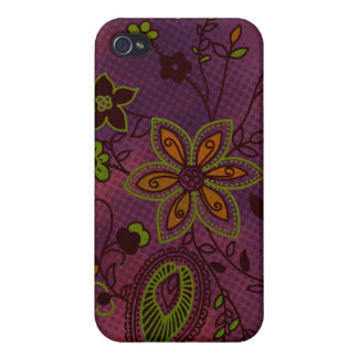 Bohemian Floral iPhone 4 Case eggplant and green