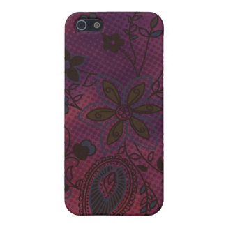 Bohemian Floral iPhone 4 Case eggplant with teal