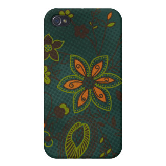 Bohemian Floral iPhone 4 Case (teal with green)