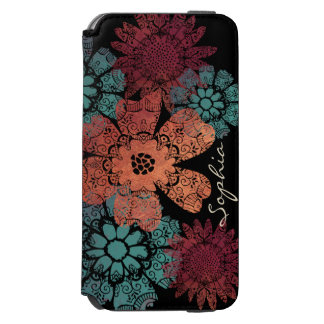Bohemian Floral Paisley Trendy Doodle Pattern Incipio Watson™ iPhone 6 Wallet Case