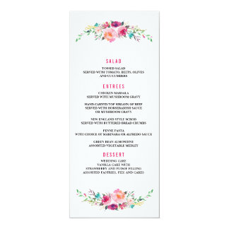 BOHEMIAN FLORAL wedding dinner menu Card